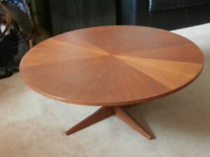 "Vintage Teak ""Sunburst"" Round Coffee Table"