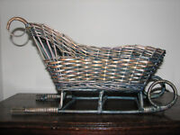 VINTAGE WICKER BENTWOOD SLEIGH SLED CHRISTMAS HOLIDAY