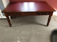 Large writing desk and leather chair