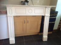 White Wooden Mantel