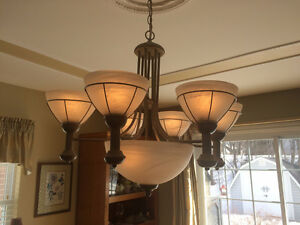 Matching 7 lamp chandelier, 3 lamp fixture & 2 wall sconces