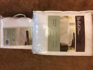 Brand new white bedspread and sham