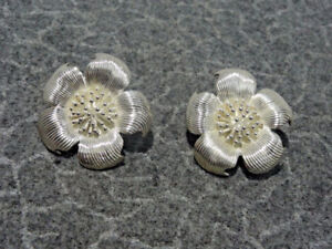 Rare REAL-1980s-Tiffany& Co-Large-Silver Cherry Blossom Earrings