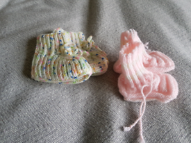 Free hand knitted baby booties