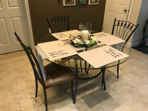 Iron and Glass Casual Dining Table and Chairs (4)
