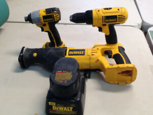Dewalt impact sawzall and drill and charger