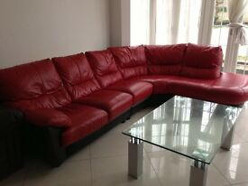 Red leather sofas l shape
