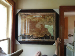 Huge Old World Map of Canada Beautifully Framed
