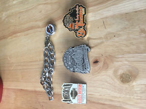 Harley Davidson Pins and Bracelet
