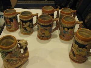 Vintage Ceramic Embossed Beer Steins - Japan