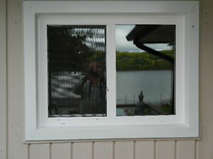 3 year old white vinyl windows with blinds