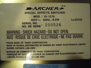 Vintage Archer Special effects switcher model # 15-1274 Gatineau Ottawa / Gatineau Area image 3