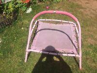 Baby girls pink outdoor trampoline