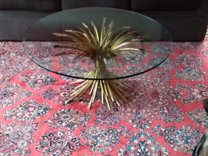 Beautiful Gilded Glass Top Wheat Sheaf Coffee Table