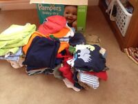 Box of boys clothing 6-18 months