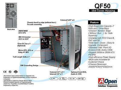 AOPEN MIDI Tower + 350W Aopen Netzteil ATX + extra 120mm Lüfter OVP, PC Gehäuse
