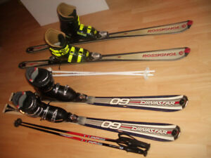 "SET ; skis "" Rossignol"" 170cm + boots 28 or 29.5 mondo / 9 - 11"