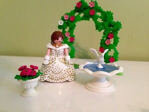 Playmobil Wedding Bride Royalty, Fountian, Rose Arch, & Rose Pot