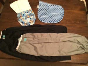 Wet diaper bags and non-disposable pocket diaper with liners