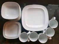Denny White Squares Porcelain Set - 7 dinner & 5 side plates, 9 bowls and 5 mugs