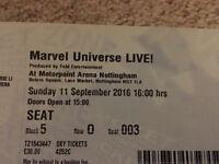 Marvel Universe Live x3 tickets