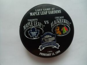 TORONTO MAPLE LEAFS VS BLACKHAWKS-Last Game At The Gardens Puck.
