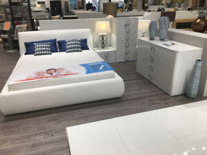 WHITE GLOSS BEDROOM SET - QUEEN SIZE BED - MADE IN EUROPE