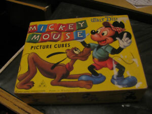 Mickey Mouse Disney Picture Cubes Puzzle, Case, Puzzle 1950s