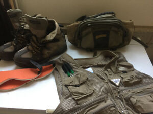 Fly fishing gear - boots, vest, bag