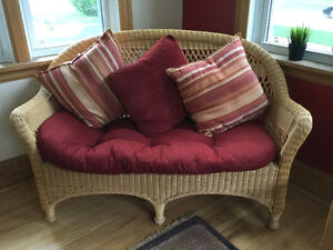 Rattan wicker loveseat and chair