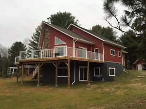 Custom chalet cottage home waterfront 2 acre fishing boating