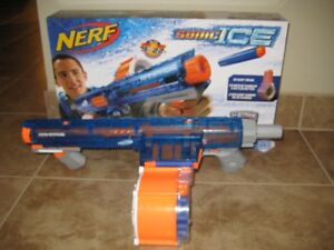BRAND NEW NERF GUNS USED ONLY ONCE.  COME WITH BOX AND WARRANTY