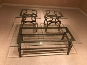 Set of glass top tables
