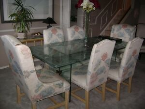 Custom Etched Glass Table with 6 Dining Chairs