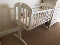 Mamas and papas breeze rocking crib inc. mattress & bumper