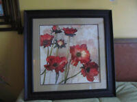 "Framed poppies flower wall art 29"" x 29"""