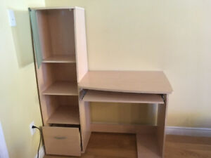 Desk with shelves and keyboard tray