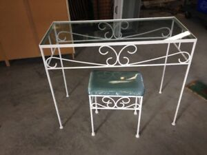 Wrought Iron Dressing Table and Stool