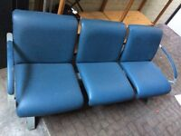 Leather 3 Chair Bench In Blue