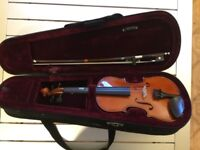1/8th size Violin for 4-8 year old. With bow and case.