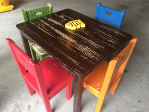Children solid wood table and chairs