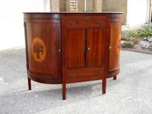 Stunning Antique Demi–Lune Mahogany Marquetry Inlay Buffet,Table