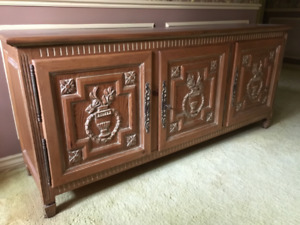 Distressed Carved Pine Cabinet