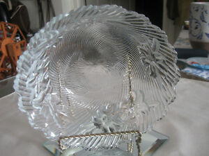FAMILY-SIZED CLEAR and EMBOSSED GLASS RELISH DISH