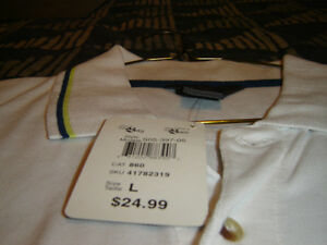 """BRAND NEW WITH TAGS MENS LARGE """"GLOBAL MIND"""" WHITE GOLF SHIRT"""