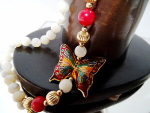 CLOISONNE BUTTERFLY MOTHER of PEARL beaded asymmetrical necklace