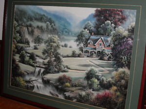Large framed print with 2 matching prints