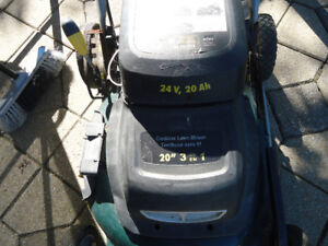 Cordless Yardworks electric lawn mower - battery operated