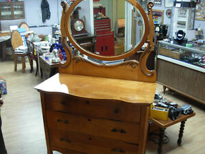 Antique Maple Dresser with Bevelled Mirror