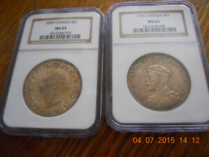 NGC Graded One Dollar Canadian coins-1937 is *SOLD*
